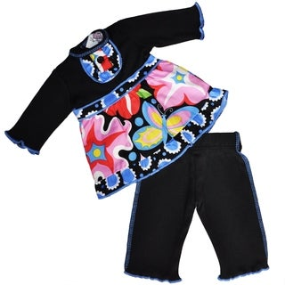 AnnLoren Girls' Blooming Flower Multicolor Cotton Doll Outfit