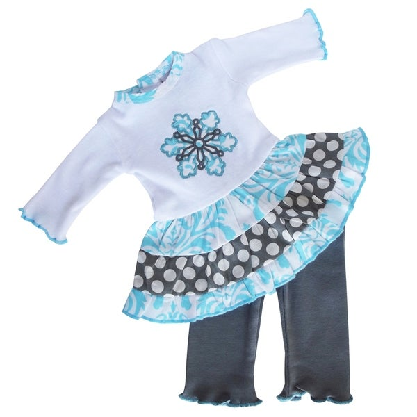 AnnLoren American Girl Blue Damask Snowflake Doll Outfit