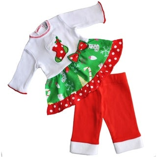 AnnLoren American Girl Red, Green and White Cotton Christmas Stocking Doll Outfit