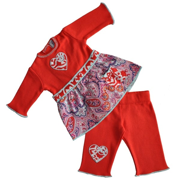 AnnLoren Red & Purple Paisley Heart American Doll Outfit