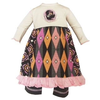 AnnLoren Girls' Pink and Grey Cotton Doll Outfit
