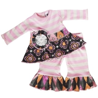 AnnLoren Pink Striped/Gathered Medallion Doll Outfit (Fits American Girl)