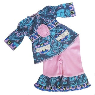 AnnLoren American Girl Pink, Grey Blue Cotton Woven Floral Damask Doll Outfit
