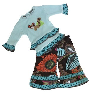AnnLoren Girls' Blue and Tropical Floral Cotton Raccoon Doll Outfit