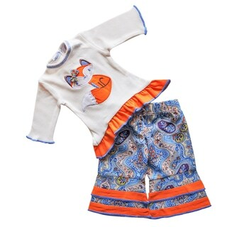 AnnLoren Paisley Fox Cream and Orange Cotton American Girl Doll Outfit
