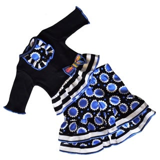 AnnLoren Black/Blue Flower Print Doll Outfit (Fits American Girl)