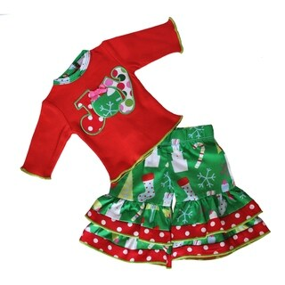 AnnLoren American Girl Red, Green, and White Cotton Christmas Joy Doll Outfit