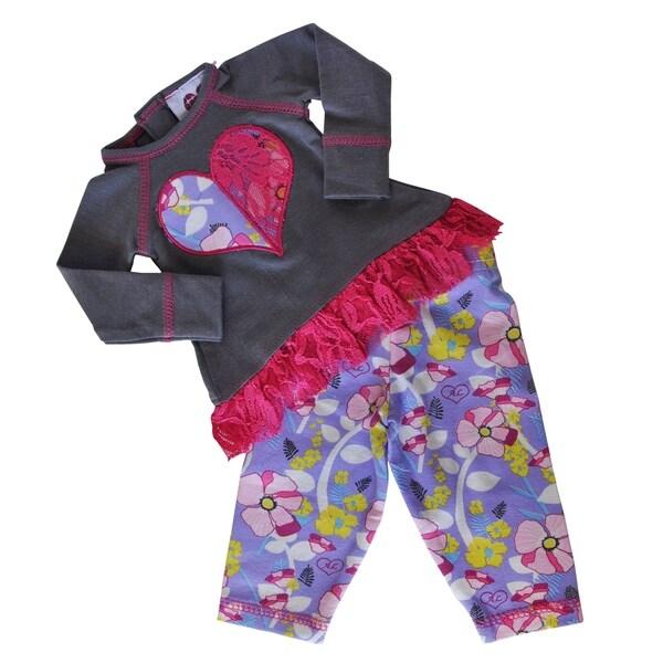 AnnLoren Girls' Multicolor Cotton Floral & Lace Heart Doll Outfit