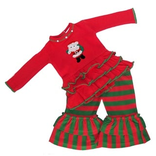 AnnLoren Red & Green Striped Santa Christmas American Doll Outfit