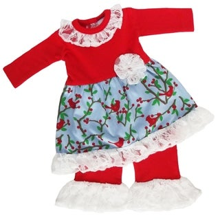 AnnLoren American Girl Blue, Green and Red Cotton Bird Print and White Lace Christmas Doll Outfit