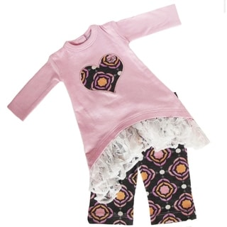 AnnLoren Pink and Purple Heart Medallion Doll Outfit (Fits American Girl Dolls)
