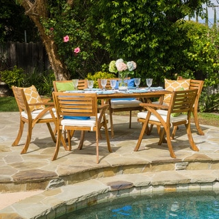 Link to Hermosa Outdoor Acacia Wood 7-piece Rectangle Dining Set with Cushions by Christopher Knight Home Similar Items in Patio Furniture