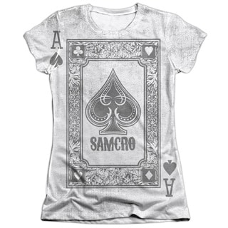 Sons Of Anarchy/Ace Of Spades Short Sleeve Junior Poly/Cotton Crew in White