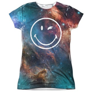 Smiley/Galactic Smiley Short Sleeve Junior 100-percent Poly Crew in White