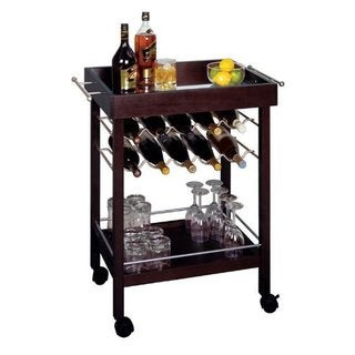 Brown Wood Mirror Top Bar Cart with Wine Rack