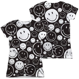 Smiley World/Smiles All Around (Front/Back Print) Short Sleeve Junior 100-percent Poly Crew in White