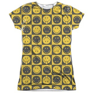 Smiley World/Checkerboard Smiley Short Sleeve Junior 100-percent Poly Crew in White