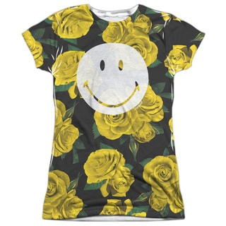 Smiley World/Rosey Smile Short Sleeve Junior 100-percent Poly Crew in White