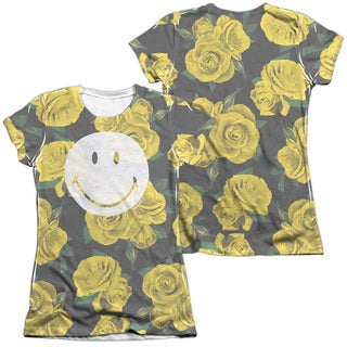 Smiley World/Rosey Smile (Front/Back Print) Short Sleeve Junior 65/35 Poly/Cotton Crew in White