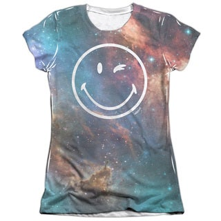 Smiley/Galactic Smiley Short Sleeve Junior 65/35 Poly/Cotton Crew in White