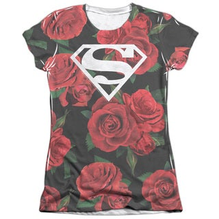 Superman/Super Floral (Front/Back Print) Short Sleeve Junior 65/35 Poly/Cotton Crew in White