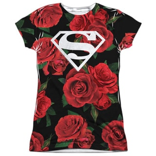 Superman/Super Floral (Front/Back Print) Short Sleeve Junior 100-percent Poly Crew in White