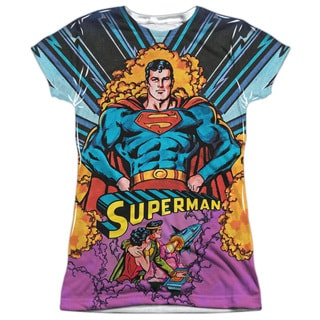 Superman/Blast Off (Front/Back Print) Short Sleeve Junior Poly Crew in White