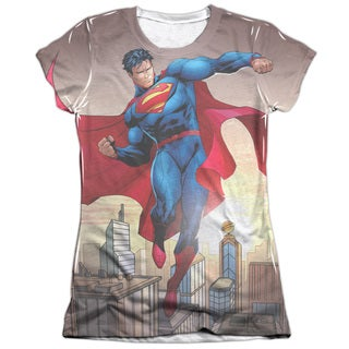 Superman/Light and Darkseid (Front/Back Print) Short Sleeve Junior Poly/Cotton Crew in White