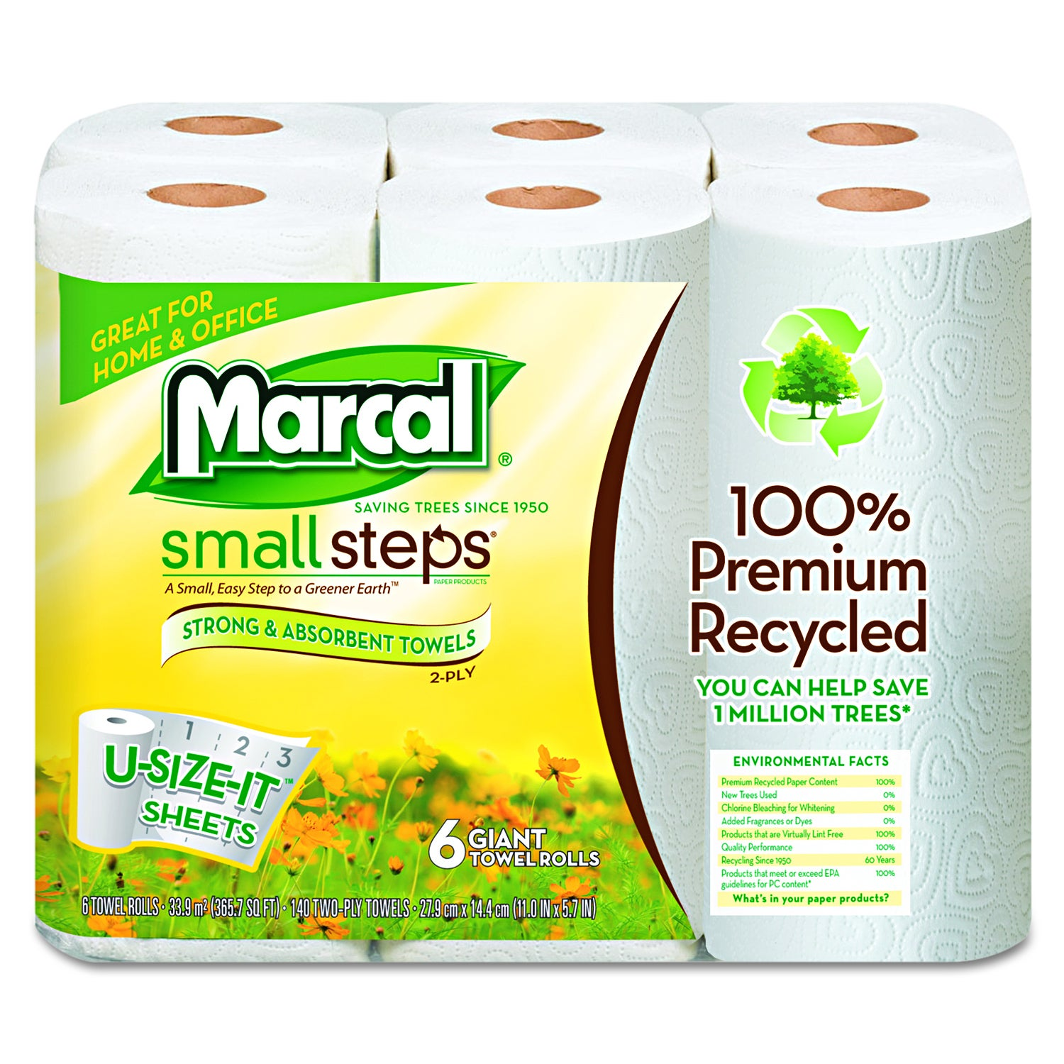 Marcal Small Steps 100 Percent Recycled Roll Towels (6 Ro...