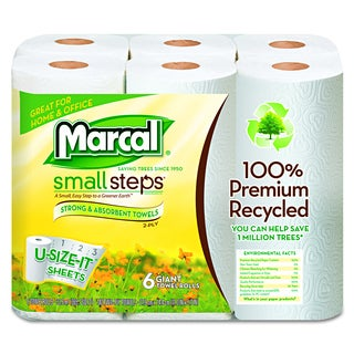 Marcal Small Steps 100 Percent Recycled Roll Towels (6 Rolls of 140 Towels)