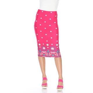 White Mark Women's 'Cynthia' Polyester, Spandex Print Midi Skirt