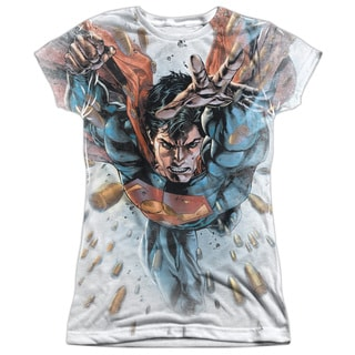 Superman/Bullets in The Sky Short Sleeve Junior Poly Crew in White
