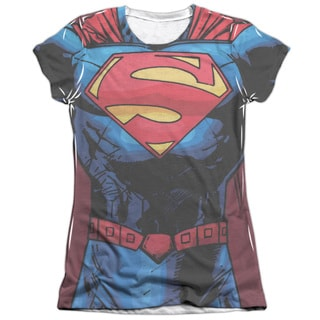 Superman/New 52 Superman Short Sleeve Junior Poly/Cotton Crew in White