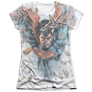 Superman/Bullets in The Sky Short Sleeve Junior Poly/Cotton Crew in White
