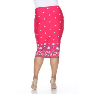 White Mark Women's Cynthia Blue, Black, and Pink Polyester and Spandex Plus-size Pencil Skirt