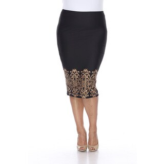 White Mark Women's Cynthia Polyester and Spandex Plus-size Pencil Skirt (Option: White)