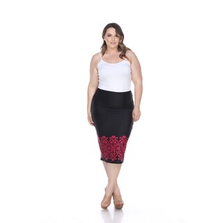 White Mark Women's Cynthia Polyester and Spandex Plus-size Pencil Skirt (More options available)