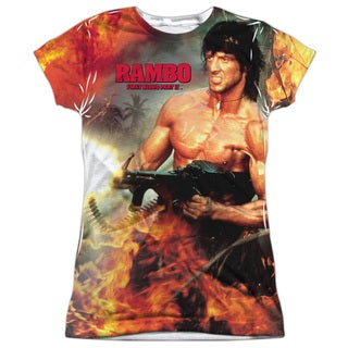 Rambo:First Blood Ii/Become War (Front/Back Print) Short Sleeve Junior Poly Crew in White