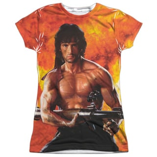 Rambo:First Blood Ii/Fire (Front/Back Print) Short Sleeve Junior Poly Crew in White