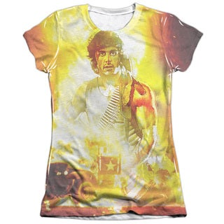 Rambo:First Blood/One War Short Sleeve Junior Poly/Cotton Crew in White