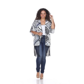 White Mark Women's Ultimate Blue/White/Grey Polyester Coverup Plus Fringe Kimono