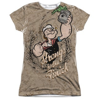 Popeye/Strongs To Tha Finch Short Sleeve Junior Poly Crew in White