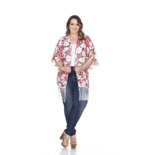White Mark Women's Ultimate Cover Up White/Pink Polyester Plus Fringe Kimono