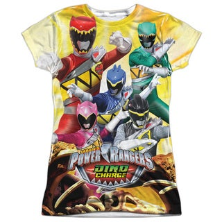 Power Rangers/Charged For Battle Short Sleeve Junior Poly Crew in White