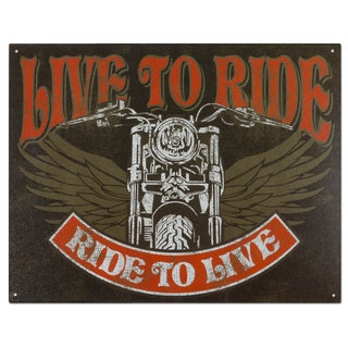Vintage Metal 'Live to Ride-Bike' Decorative Tin Sign
