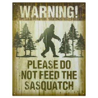 Vintage Metal 'Don't Feed the Sasquatch' Decorative Tin Sign