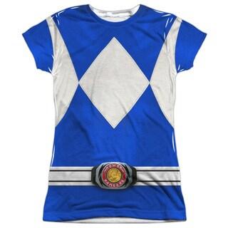 Power Rangers/Blue Ranger Short Sleeve Junior Poly Crew in White