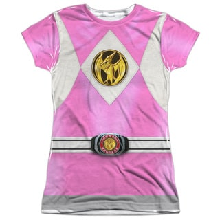 Power Rangers/Pink Ranger Emblem Short Sleeve Junior Poly Crew in White