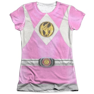Power Rangers/Pink Ranger Emblem (Front/Back Print) Short Sleeve Junior Poly/Cotton Crew in White