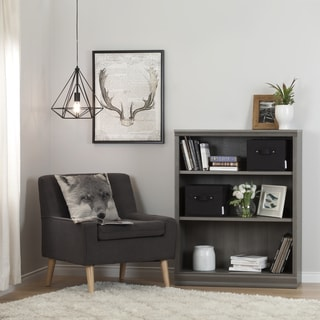 South Shore Morgan Black/Cherry/Gray Laminate 3-shelf Bookcase with 2 Canvas Storage Baskets